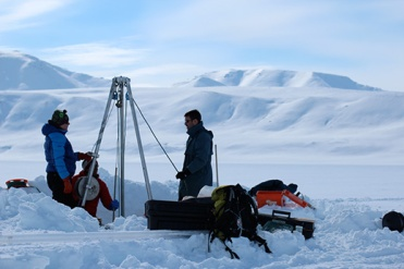 2013: Brooks Range, coring on frozen Shainin Lake to understand glacial movement.