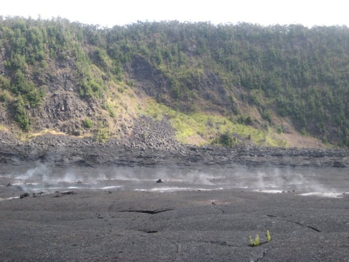 2011: Hawai'i Volcanoes National Park, measuring the temperature of the vents to establish baseline knowledge