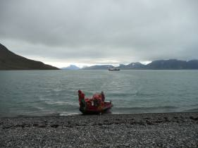 2013: Svalbard, boarding a zodiac to head back to the ship after collecting samples from this raised beach terrace.